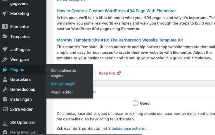 Stap 1 - ga in je WordPress dashboard naar nieuwe plugins